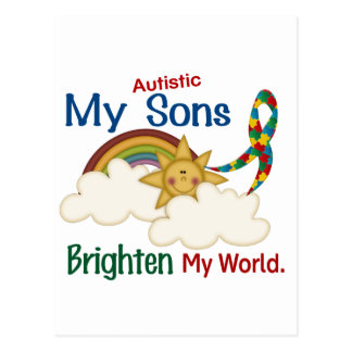 Autism BRIGHTEN MY WORLD 1 Sons Postcard