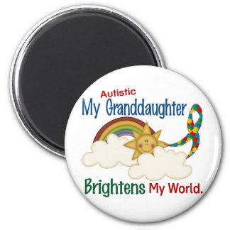 Autism BRIGHTENS MY WORLD 1 Granddaughter 6 Cm Round Magnet