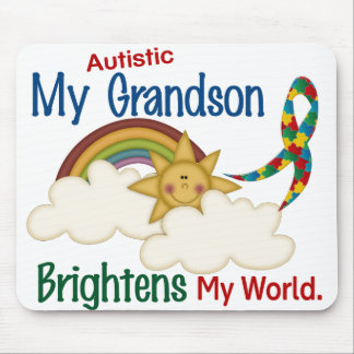 Autism BRIGHTENS MY WORLD 1 Grandson Mouse Pad