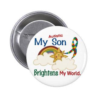 Autism BRIGHTENS MY WORLD 1 Son 6 Cm Round Badge