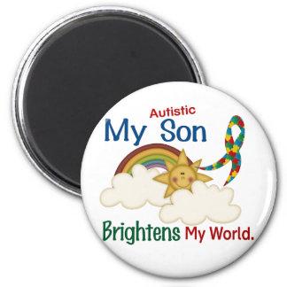 Autism BRIGHTENS MY WORLD 1 Son 6 Cm Round Magnet