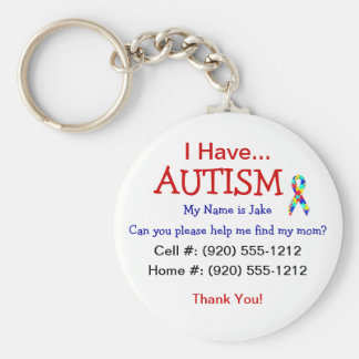 Autism Child ID Zipper Pull (Changeble Text) Key Ring
