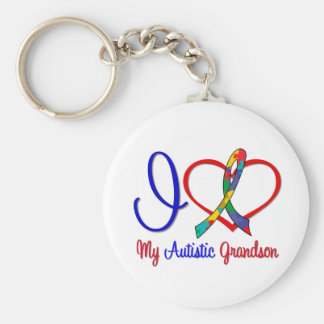 Autism I Love My Autistic Grandson Basic Round Button Key Ring