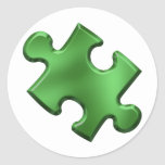 Autism Puzzle Piece Green Round Stickers