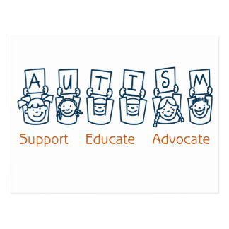 Autism: Support Educate Advocate Postcard