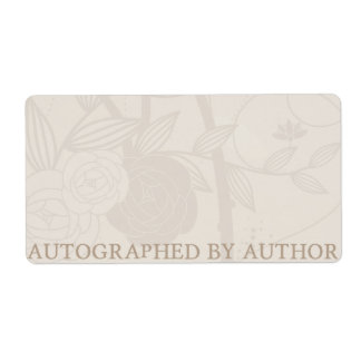 Autographed by Author Bookplate Cream Flower Shipping Label