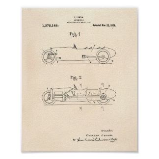 Automobile 1921 Patent Art Old Peper Poster