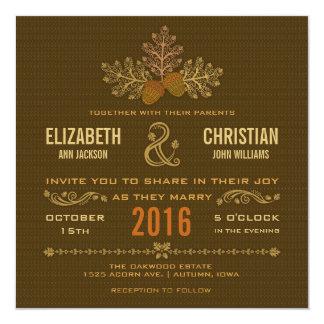 Autumn Acorns and Oak Leaves Wedding Invitation