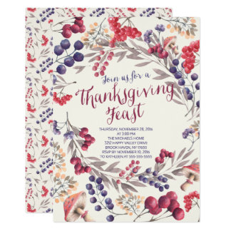 Autumn Berry Floral Thanksgiving Feast Invite