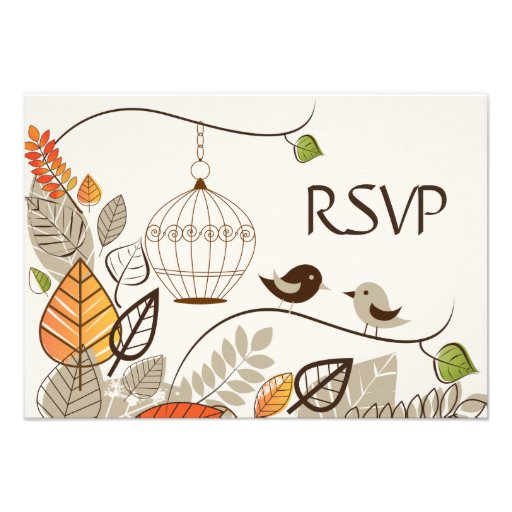 Autumn Birds and Leaves Wedding RSVP Cards