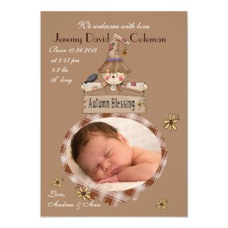 Autumn Blessing - Photo Birth Announcement