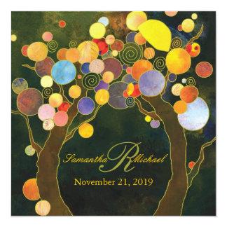 Autumn Bliss Rustic Tree Theme Wedding 13 Cm X 13 Cm Square Invitation Card