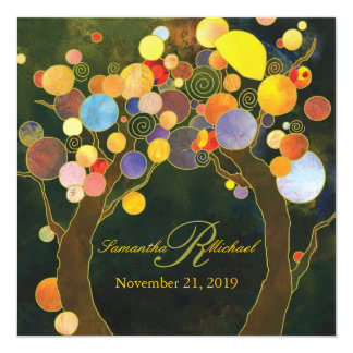 Autumn Bliss Rustic Tree Theme Wedding Card