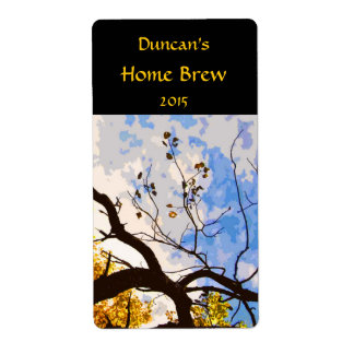 Autumn Branches Abstract Beer Label