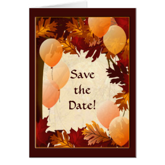 Autumn Colors Leaves Save the Date Note Card