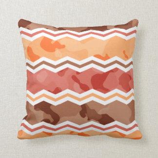 Autumn Colors; Red, Orange, Brown Camo Throw Cushions
