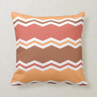 Autumn Colors; Red, Orange, Brown Chevron Throw Pillow