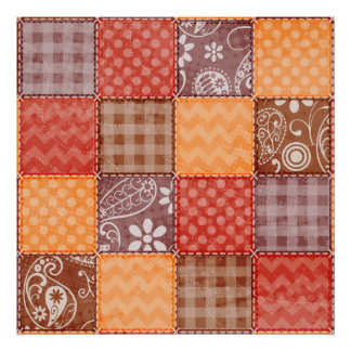 Autumn Colors; Red, Orange, Brown Patchwork Poster