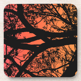 Autumn colors tree silhouette drink coasters
