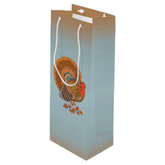 Autumn Colors Turkey Leaves Thanksgiving Wine Gift Bag