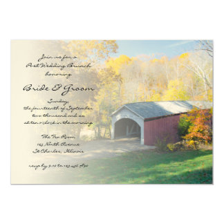 Autumn Covered Bridge Post Wedding Brunch Invite