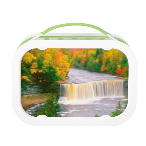 Autumn creek woods with yellow trees foliage lunchbox