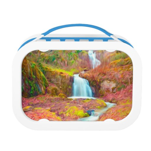 Autumn creek woods with yellow trees foliage lunch boxes