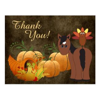 Autumn Cute Brown Horse and Turkey Thank You Postcard