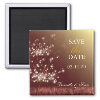 Autumn Dandelion Brown Wedding Save the Date Magnet