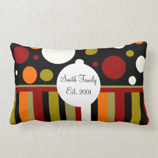 Autumn Earth Tones Stripes Polka Dots Pattern Cushion