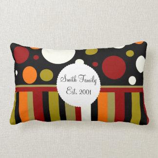 Autumn Earth Tones Stripes Polka Dots Pattern Lumbar Pillow