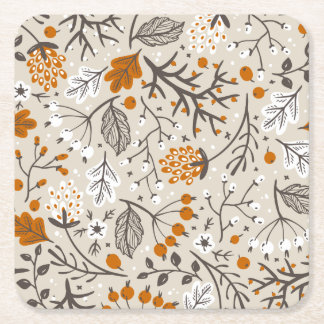 Autumn Fall Berries Leaves and Branches Pattern Square Paper Coaster