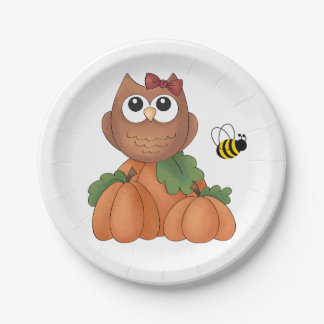 Autumn Fall Harvest Holiday Owl Pumpkin Bumble Bee Paper Plate