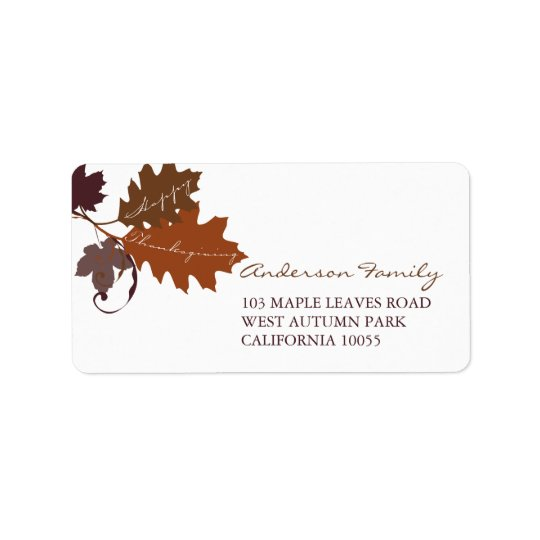 Autumn Fall Leaves Thanksgiving Address Labels