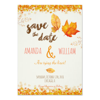 Autumn Fall Leaves Wedding Save the Date Card