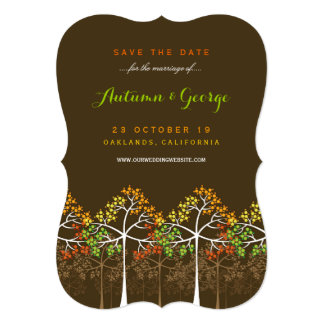 Autumn Fall Trees Wedding Photo Save The Date Card