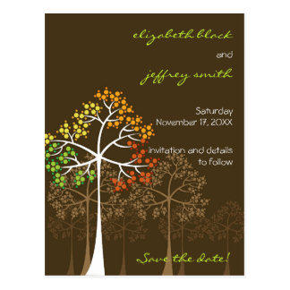 Autumn Fall Trees Woodland Wedding Save The Date Postcard