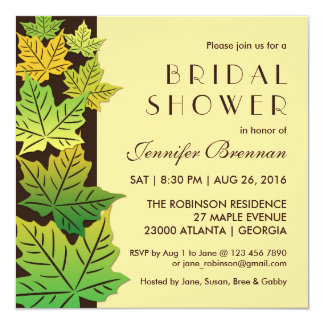 Autumn Falling Maple Leaf Wedding Invitation Cream