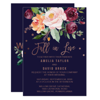 Autumn Floral Rose Gold Fall In Love Wedding Card