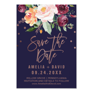Autumn Floral | Rose Gold Save the Date Card