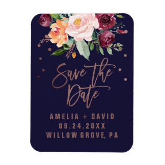 Autumn Floral Rose Gold Save the Date Magnet