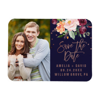 Autumn Floral Rose Gold Save the Date Photo Magnet