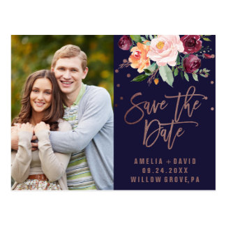 Autumn Floral Rose Gold Save the Date Photo Postcard
