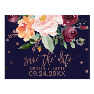 Autumn Floral Rose Gold Save the Date Postcard