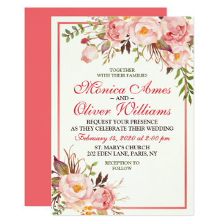 Autumn Floral Watercolor Modern Wedding Invitation