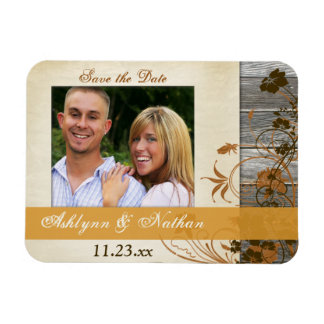 Autumn Flowers, FAUX Wood Save the Date Magnet