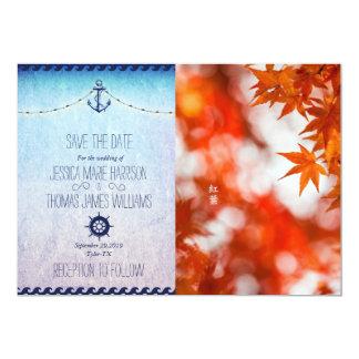 Autumn foliage/nautic theme 13 cm x 18 cm invitation card