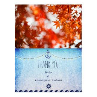 Autumn foliage/nautic theme postcard