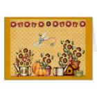 Autumn Gold Sunflower Yellow Country Prims Pumpkin Card