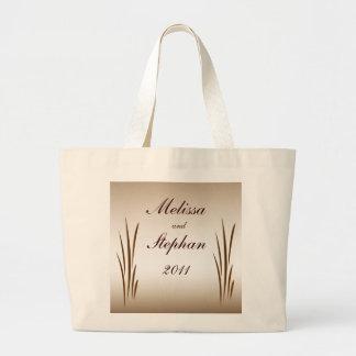 Autumn Harvest Bride and Groom Wedding Large Tote Bag